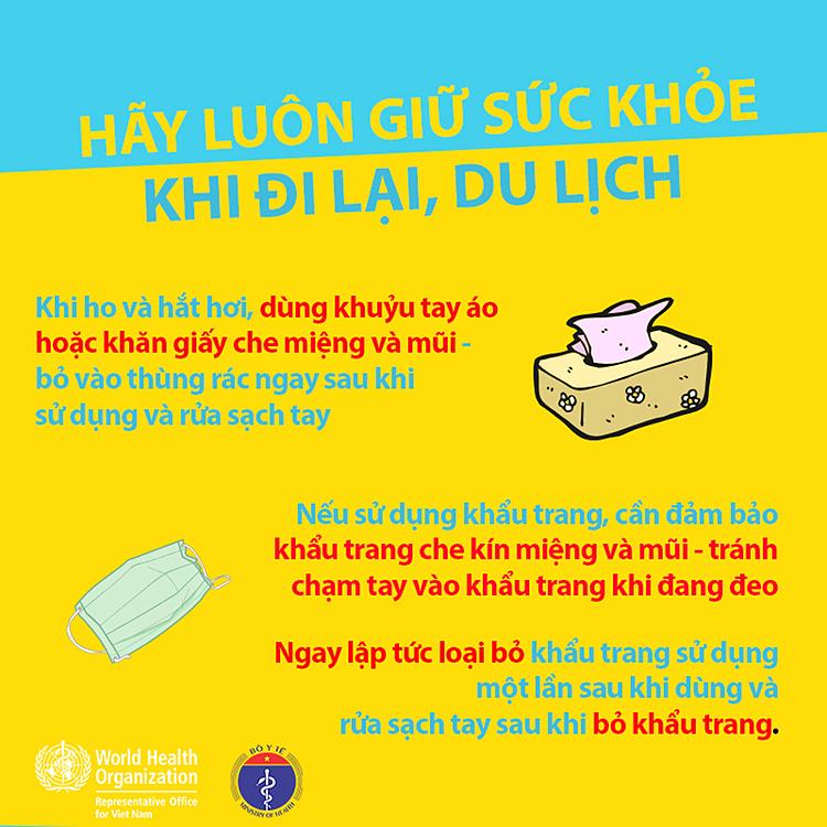 Ngoài sử dụng khẩu trang, du khách lưu ý rửa tay với xà phòng hoặc dung dịch rửa tay có chứa cồn. Ảnh: Tổ chức Y Tế thế giới tại Việt Nam.