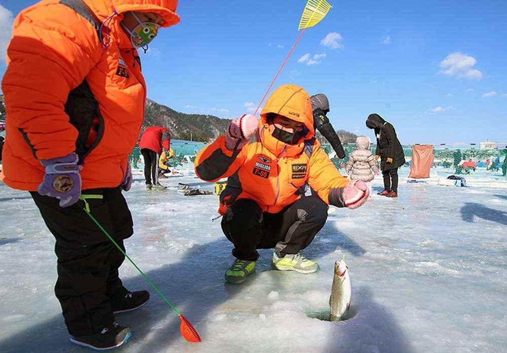Câu cá mùa đông ở Gangwon-do