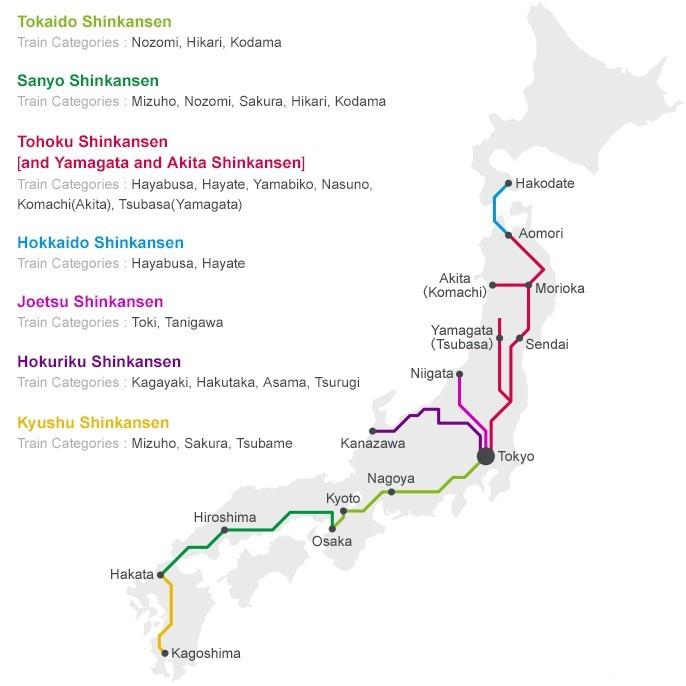 Bản đồ các tuyến đường của tàu Shinkansen
