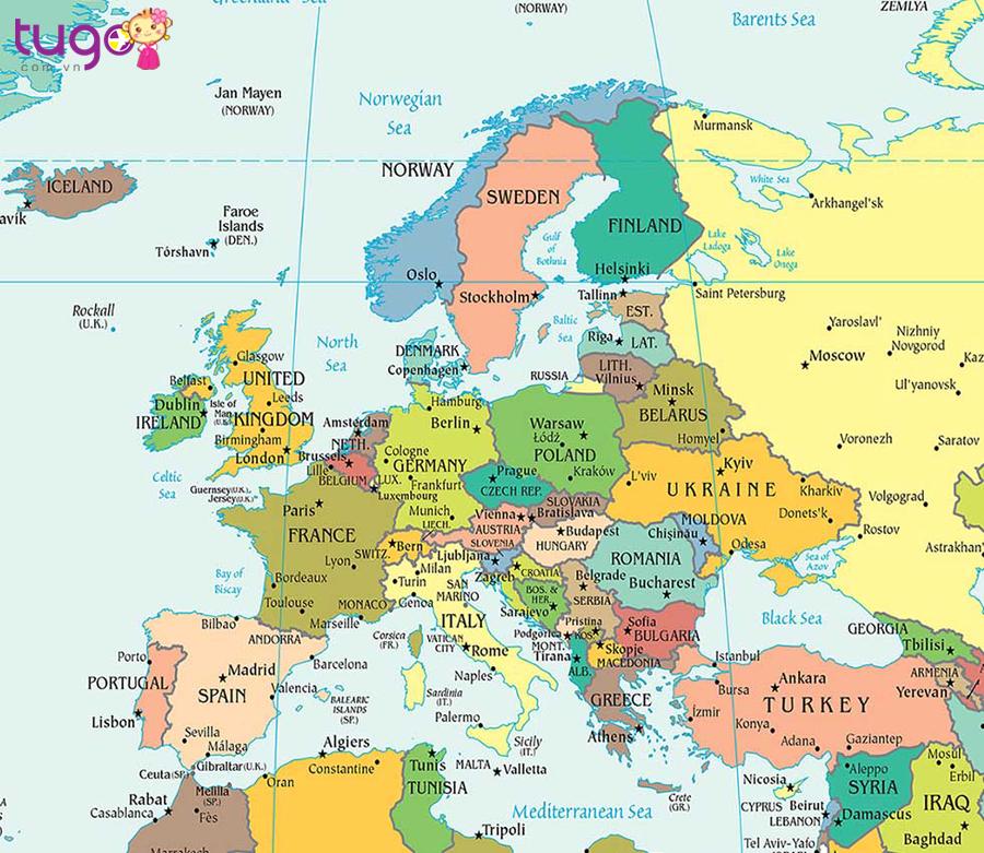 Lục địa của châu Âu được bao quanh bởi biển và đại dương