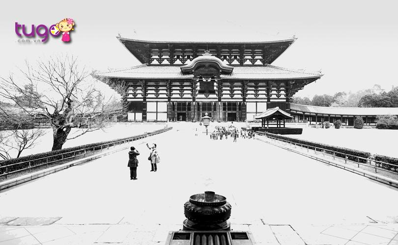 Chùa Todaiji phủ đầy tuyết trắng vào mùa đông