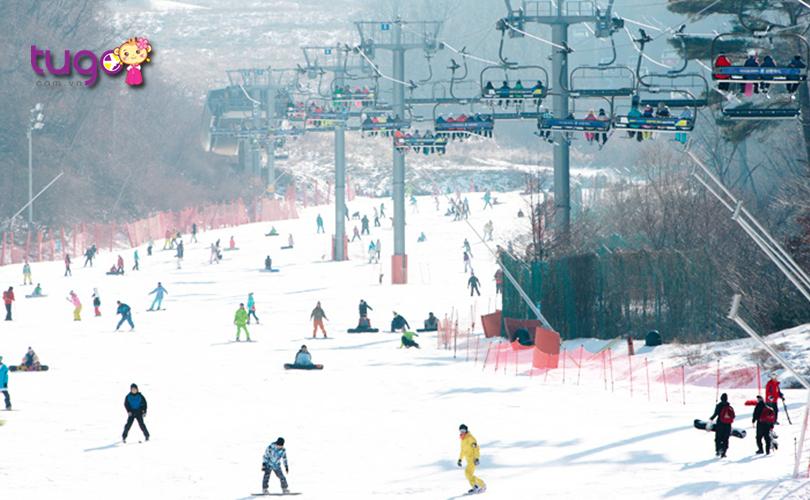 Khu nghỉ dưỡng trượt tuyết Muju thu hút đông đảo người tham gia