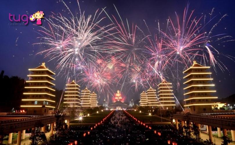 Màn bắn pháo hoa tưng bừng chào đón năm mới ở Đài Loan