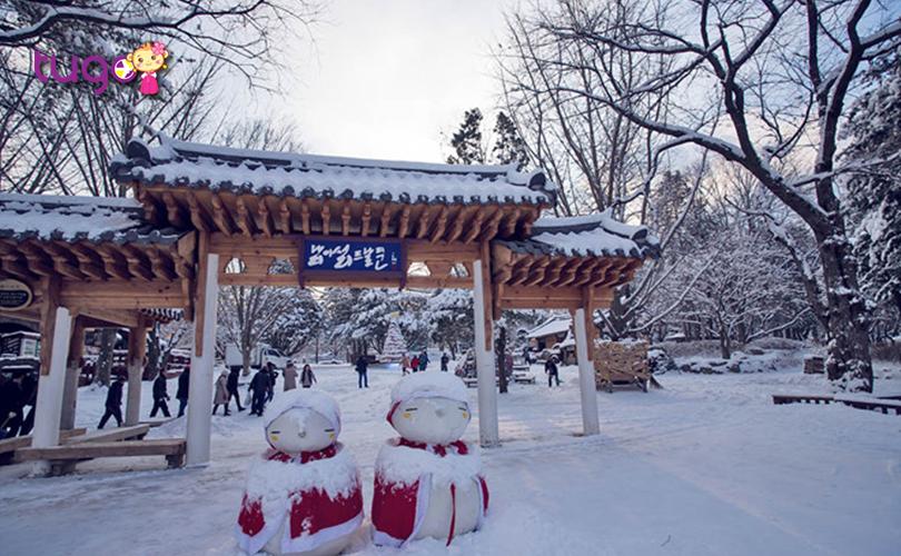 Một màu trắng xóa của tuyết bao phủ mọi nơi ở Hàn Quốc khi mùa đông về