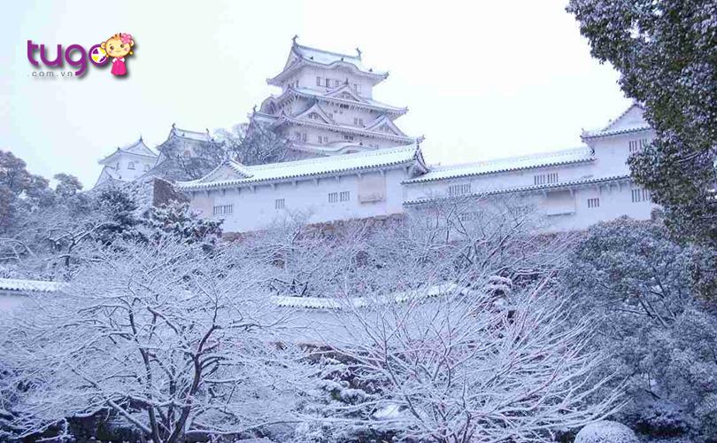 Một màu tuyết trắng xóa bao phủ lâu đài Himeji khi mùa đông về