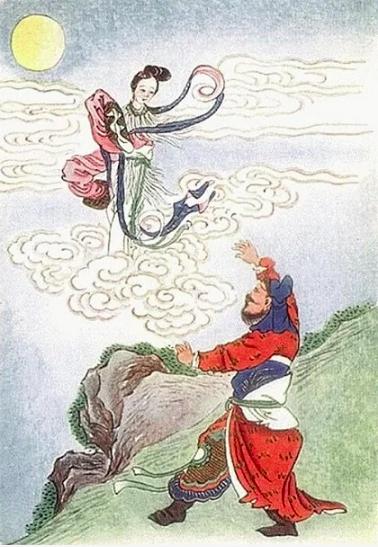 Hình tượng Hậu Nghệ, Hằng Nga xuất hiện nhiều trong các tác phẩm tranh và phim điện ảnh Trung Quốc. Ảnh:Etsy.