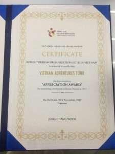 Giải thưởng vinh dự do Tổng Cục Du Lịch Hàn Quốc (KTO) tại Việt Nam